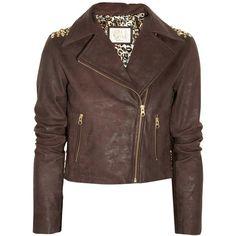Sara Berman Bernie studded cropped leather jacket ($300) ❤ liked on Polyvore