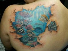 Water, fish coral reef tattoo: