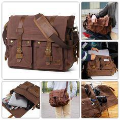 "ICYMI: Vintage Messenger Bag Genuine Leather Anti Shock 17"" Laptop Compartment Brown"
