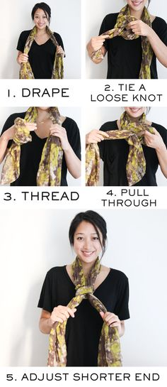 One scarf, and five different fashionable ways to tie it