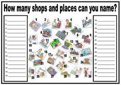 Vocabulario - Tiendas y lugares en la ciudad. Escribe los nombres de las imagenes que reconozcas.