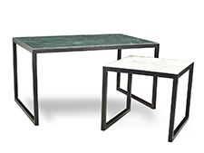 A Contemporary Modern Design with a twist, the Vita Coffee Table is a stunning mix of materials and colours. Two different tones of Green and White Marble Stone collide with a Black, Metal frame f… Solid Wood Furniture, Home Decor Furniture, Marble Top, White Marble, Minimalist Design, Modern Design, Different Tones, Marble Stones, Nesting Tables