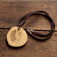 Wood Burned Fern Pendant on vintage silk cord. Wood Slice Necklace. Valentine's Day gift on Etsy, $20.00