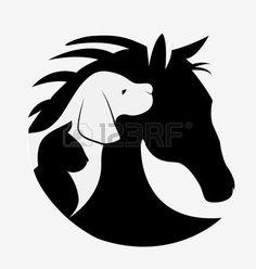 chat dessin: Chien chat et cheval logo image vectorielle design Illustration