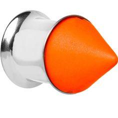 00 Gauge Orange Neon Cone Stainless Steel Plug