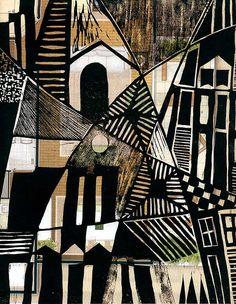 """André de Miranda, Cidade 5,  woodcut printed on real estate advertising"""
