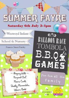 Poster for PTA summer fair Pta School, School Fair, School Plan, School Fundraisers, Bbq Games, Balloon Race, Fete Ideas, Summer Fair, School Community
