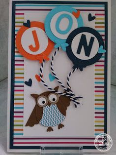 KIT's Cards: juni 2015 It's a Boy, Stampin' Up!, Owl Punch, Newborn, BabyBoy