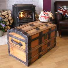 FANTASTIC VICTORIAN PINE DOME TOPPED RAILWAY TRUNK Vintage Pine Box WOODEN CHEST   eBay