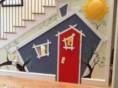 Incredible kids under-stairs playroom Under Stairs Playhouse, Kids Indoor Playhouse, Childrens Playhouse, Build A Playhouse, Playhouse Ideas, Incredible Kids, Play Houses, Kids Playing, Projects
