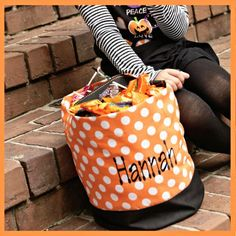monogrammed pink and white stripe easter or halloween bucket trick or treat bag candy bucket trick or treat tote by gebbiesembroidery on etsy ht