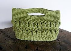 crocheted bag with puff stitch