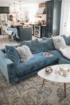 Living Room Renovation Reveal Jess Ann Kirby uses the Rove Concepts Hugo Sectional as the statement of her living room # Boho Living Room, Living Room Colors, Cozy Living Rooms, Living Room Grey, Living Room Modern, Apartment Living, Living Room Designs, Small Living, Apartment Kitchen