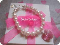 Children's Jewelry SWAROVSKI Heart charm bracelet by JewlesDesigns, $39.87