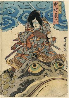 The Dybdahl Co Warrior and Toads, Poster Japanese Art Styles, Japanese Art Modern, Japanese Drawings, Traditional Japanese Art, Japanese Artwork, Japanese Tattoo Art, Japanese Painting, Japanese Prints, Japan Illustration