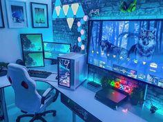 Gaming Desk Setup, Computer Gaming Room, Best Gaming Setup, Gamer Setup, Computer Setup, Pc Setup, Home Music, Bedroom Setup, Led Stripes