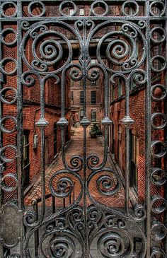 Thresholds:  Wrought-iron gate with spirals.