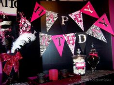 Zebra rockstar banner: http://www.etsy.com/listing/61364375/rock-star-zebra-birthday-banner    Just what I wanted to make for Ashley's Dance/Rockstar party!!