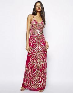 Image 1 ofVirgos Lounge Sadie Cami Maxi Dress in All Over Embellishment