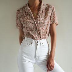 Vintage floral 100% silk chiffon sheer short sleeve blouse