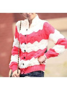 Colorblocked Red Cable Knit Cardigan