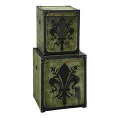 Woodland Imports�Set of 2 Rectangular French Fleur-De-Lis Storage Boxes