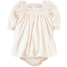 Ralph Lauren Childrenswear Newborn Girls 0-9 Months Velour Ruffled... ($9.84) ❤ liked on Polyvore