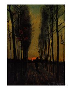 Lane Of Poplars  at Sunset Van Gogh