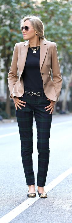 The Classy Cubicle: Pants Party. fashion blog, young professional women, office style inspiration, corporate work wear, fall fashion trends, plaid, tartan, pants, banana republic, brooks brothers, adea, monogram necklace, gold choker, stella mccartney sunglasses, kate spade, gold toe flats