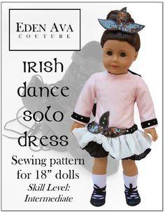 "Irish Dance Solo Dress 18"" Doll Clothes"