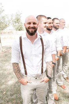 white shirts & khaki pants - rustic wedding groom and groomsmen attire Groomsmen Outfits, Groom And Groomsmen Attire, Rustic Wedding Groomsmen, Rustic Wedding Seating, Rustic Wedding Colors, Perfect Wedding Dress, Dream Wedding Dresses, Bridal Dresses, Outfits