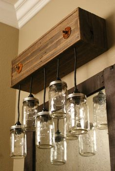 Mason Jar Chandelier Wall Mount - Mason Jar lighting - Upcycled Wood - Mason jar pendant fixture