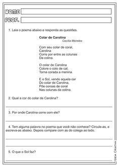 Atividades de Língua Portuguesa para trabalhar interpretação de texto com seus alunos, em sala de aula.  Com um poema infantil de Ce...