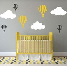 Colorful Clouds Hot Balloon Wall Sticker Creative Cartoon Decal Mural Removable Wallpaper for Kids Nursery Room Home Decoration(China (Mainland))