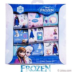 DISNEY'S FROZEN STICKERS. With 150 stickers on 9 rolls, these Disney stickers feature Elsa, Anna, Olaf and more. Each display boxed with hanger. Perfect for playdates, party favors and scrapbooking.  Size 1.5 X 8 X 8.5 Inches