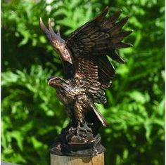solid bronze eagle statue