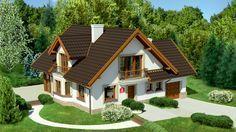 Wizualizacja Dom przy Pomarańczowej 2 CE Village House Design, Bungalow House Design, Village Houses, Beautiful House Images, Beautiful Small Homes, Simple House Design, Modern House Design, Home Exterior Makeover, House Viewing