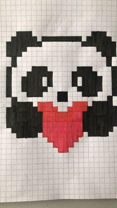 Panda - #panda #tekenen Pixel Crochet, Crochet Chart, C2c Crochet, Arte Pixel, Pixel Image, Bead Crafts, Pixel Drawing, Pix Art, Graph Paper Art