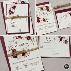 Rustic Floral Wedding Invitation Suite, Marsala Wedding Is Perfect For Your  Elegant, Rustic Boho Chic Wedding!