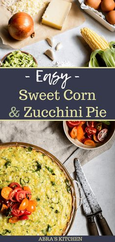 The perfect veggie treat! Fresh sweet corn, shredded local zucchini, melty cheese, this pie is crust-less (hello easy), and best served with fresh slices of tomato and flaky sea salt!