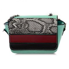 Stylish Women s Crossbody Bag With Snake Print and Chain Design pink cream green (Stylish Women s Crossbody Bag With Snake Print a) by http://www.irockbags.com/stylish-womens-crossbody-bag-with-snake-print-and-chain-design-pink-cream-green