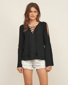 Womens Patterned Lace Up Blouse