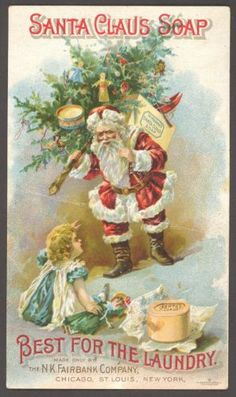 "§§§ . 1890's advertising trade card for ""Santa Claus Soap"".   http://www.vintage-paper-collectables.com/index.php"