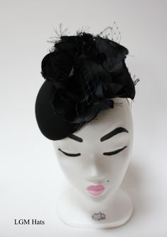 Stunning little black pillbox hat from Irish milliner at LGM Hats. Perfect for a winter wedding or a ladies day at the races.