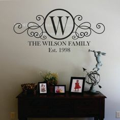 Swirly Circle Family Monogram Vinyl Wall Decal