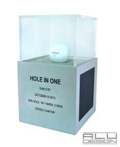 COURSE RECORD or LOW ROUND or HOLE IN ONE or 1ST PLACE A Modern Golf Ball Display Trophy Case Anodized Silver Aluminum with Black Carbon Fiber look. Modern Golf Ball Display. Designed and Manufactured in San Diego California USA by ALU DESIGN modern golf accessories
