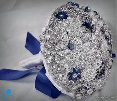 MEDIUM Royal Blue Crystal Brooch Bouquet by Blue by BluePetyl