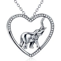 YFN 925 Sterling Silver Two Tone Cubic Zircon Heart Pendant Necklace Elephant #YFN #Elephant