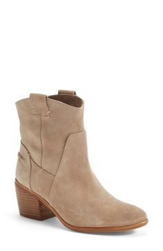 """Vince Camuto 'Maves' Bootie (Women) (Nordstrom Exclusive) available at #Nordstrom Lush suede softens a chic Western-style bootie perched on a blocky, architectural heel. 2 1/2"""" heel (size 8.5. 5 1/2"""" boot shaft. Pull-on style. Suede upper/synthetic lining and sole. By Vince Camuto; imported. Women's Shoes. Item # 1086892 $104.90/158.95"""