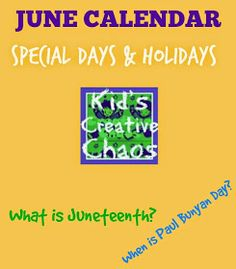 June Calendar of Special Days and Holidays for Activities